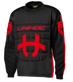 Unihoc Shield SR. Black/Neon Red brankářský dres